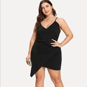 RUCHED WRAP CAMI DRESS